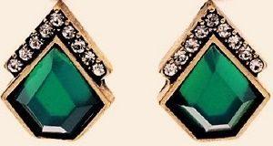 Серьги с зеленым ситаллом