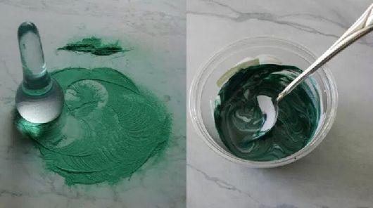 Зеленый малахит - краска, фото